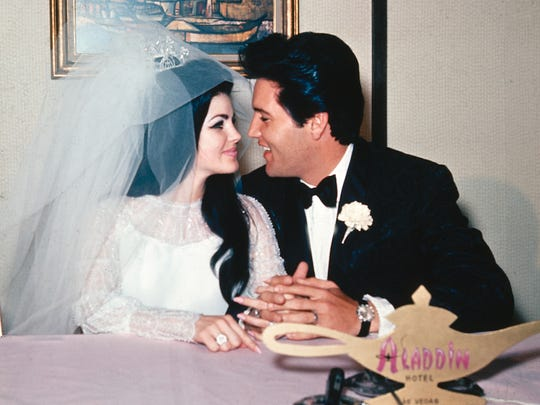 Elvis and Priscilla Presley are seen on their wedding