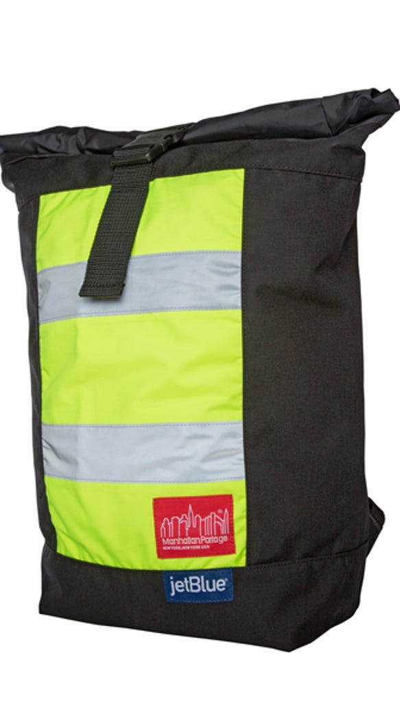 The backpack is made out of recycled JetBlue rain pants.