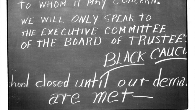 A note on a chalkboard during the Black Student Caucus' 1969 lock-out at Colgate Rochester Divinity School.