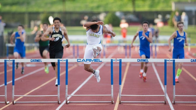 Carmel's Jalen Walker, a Miami of Ohio football signee, was first in state in 300-meter hurdles in 2015 and second in 2016.