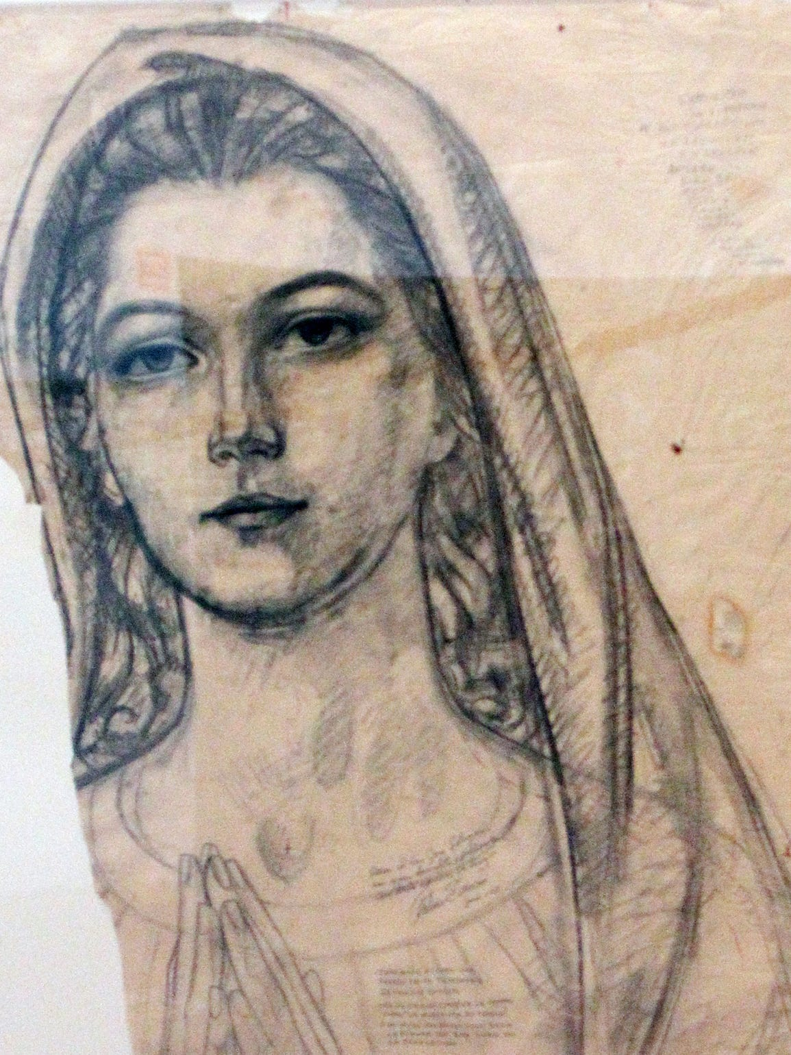This artwork of the Madonna is one of three artworks