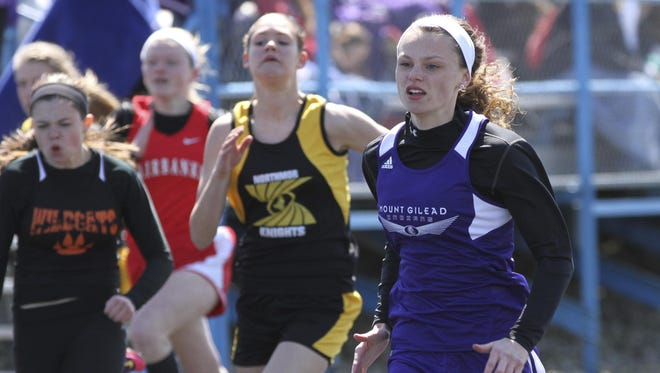 Sophomore Olivia Brewer has had a breakout season for Mount Gilead, qualifying for state in the 100 and 200 meter dashes and as anchor of the 4x200 relay. Her 4x100 team just missed.