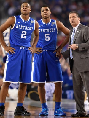 With Andrew Harrison and Aaron Harrison back for the Wildcats, Kentucky is No. 1 in the USA TODAY Sports top 25 preseason coaches Poll.