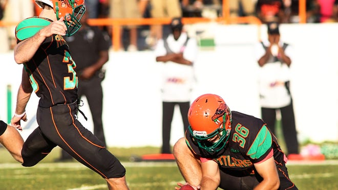 Kicker Chase Varnadore adds a PAT for the Rattlers during Saturday's win over SSU.