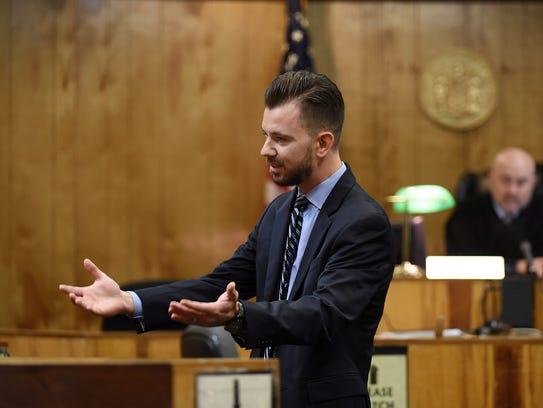 Prosecutor Krenar Camili makes his closing arguments