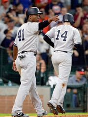 New York Yankees' Miguel Andujar (41) gestures towards