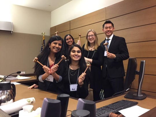 Newark Charter's Charmy Patel, from left, Esha Shah, Shaily Patel, Veronica Kook and Michael Chen are among the Golden Gavel winners of the Mock Trial competition.