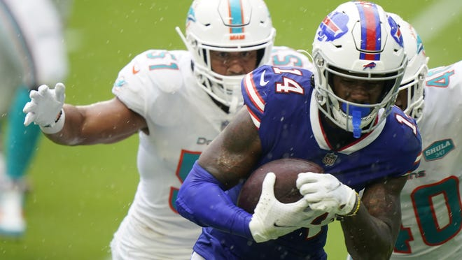 Buffalo Bills wide receiver Stefon Diggs (14) has been quarterback Josh Allen's favorite target in opening the season with two consecutive eight-catch outings.