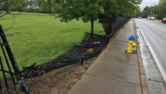 A vehicle damaged the fence surrounding the former MTMC property. The property is now owned by MTSU.