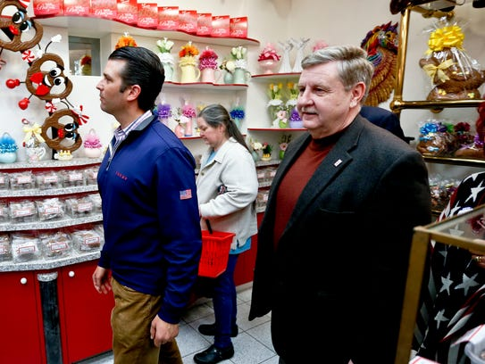 Republican Rick Saccone, right, and Donald Trump Jr.,