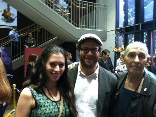 Lauren Miller Rogen, who graduated from FSU's film school in 2003, movie star Seth Rogen and Richard Portman, right, are shown during a reception at the FSU film school in 2012.