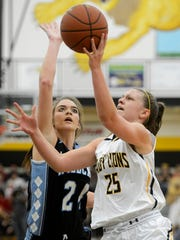 Red Lion's Courtney Dimoff isn't afraid to take the ball to the bucket.