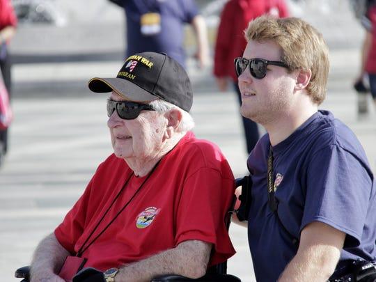 Visalia Korean War veteran Bob Watkins and grandson