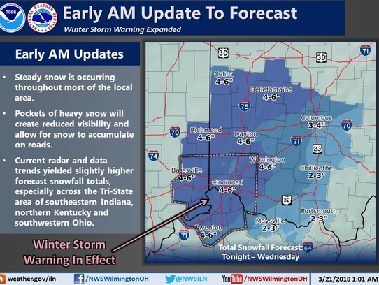 An early Wednesday forecast shows 4-6 inches of snow