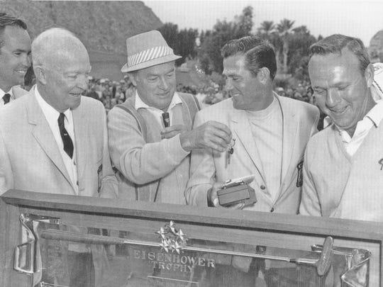 From left, Paul Jenkins, Presiden Dwight Eisenhower, Bob Hope, Doug Sanders and Arnold Palmer, during the presentation of the Eisenhower Trophy in 1966.