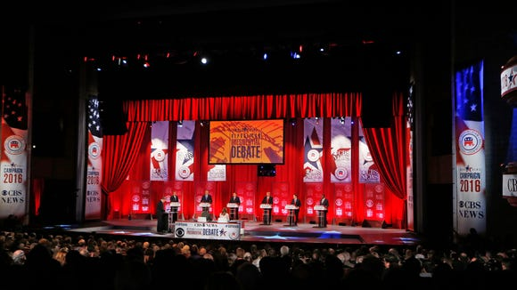 Republican presidential candidates participate in the CBS News Republican presidential debate at the Peace Center on Feb. 13, 2016, in Greenville, S.C.
