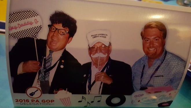 From left: GOP delegates Matt Jansen, of North Codorus Township, Joe Sacco, of Shrewsbury, and Marc Scaringi, of Cumberland County, shared a novelty photo taken at the 2016 Republican Convention.