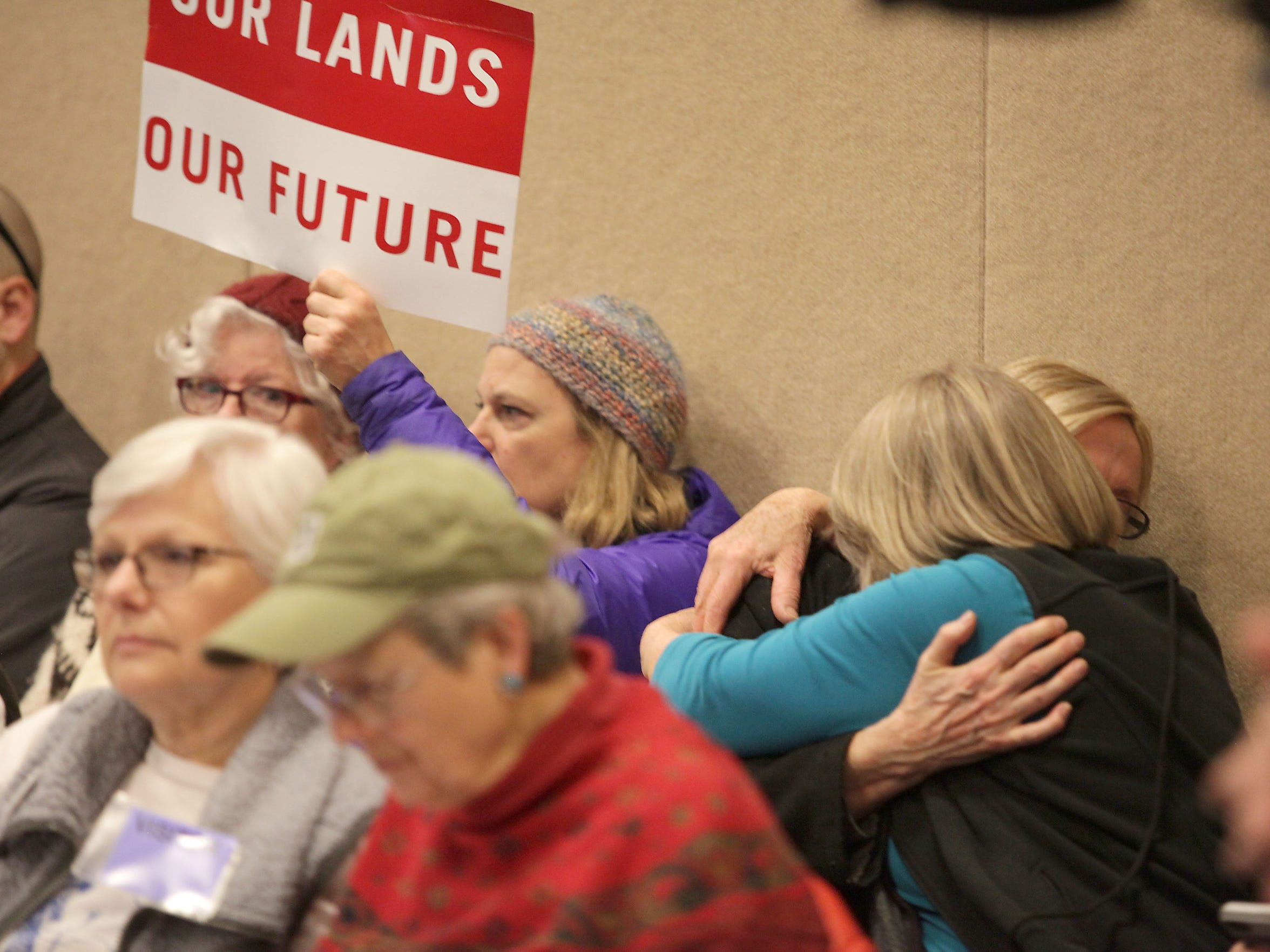 "Protesters with the ""keep it in the ground"" movement react to the leasing of public land at a Bureau of Land Management oil and gas auction in Salt Lake City on Feb. 16, 2016."