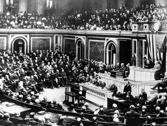 President Woodrow Wilson delivers a declaration of