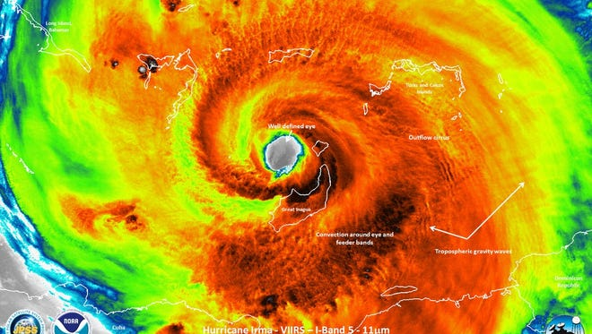 An infrared satellite image of Hurricane Irma as it passed over Great Inagua Island on Sept. 8, 2017.