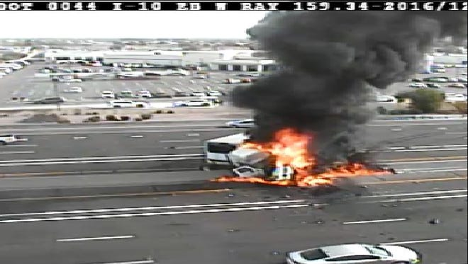 The fiery crash that blocked most lanes of Interstate 10 near Ray Road on Dec. 7, 2016.