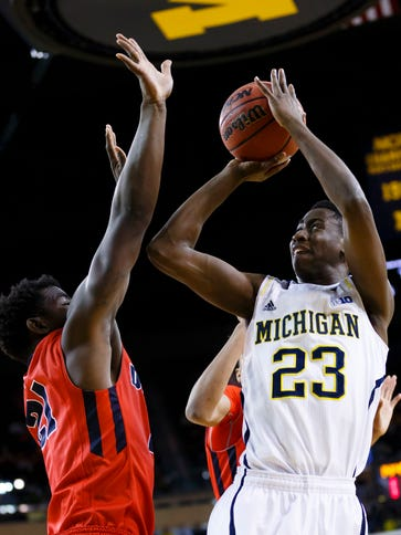 Wolverines guard Caris LeVert had 21 points and nine