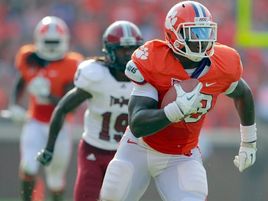 Clemson's Dwayne Allen scores a 54-yard touchdown on a pass from Tajh Boyd against Troy in 2011.