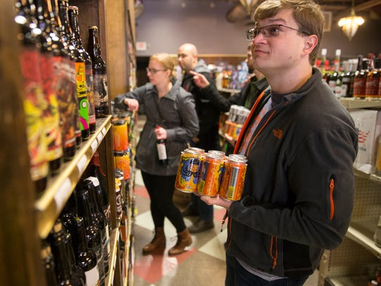 on the first day of legal universal Sunday carry-out alcohol sales, Indianapolis, Sunday, March 4, 2018.