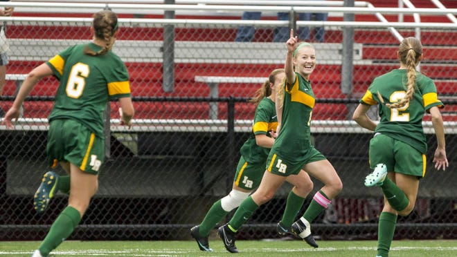 Indian River's Brooke Beam points to the sky after scoring in the second half of the DIAA Division II Girls Soccer Championship game at Smyrna High School on Tuesday night. Caravel defeated Indian River by a score of 3-1.