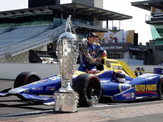 Indianapolis 500 champion Alexander Rossi poses with