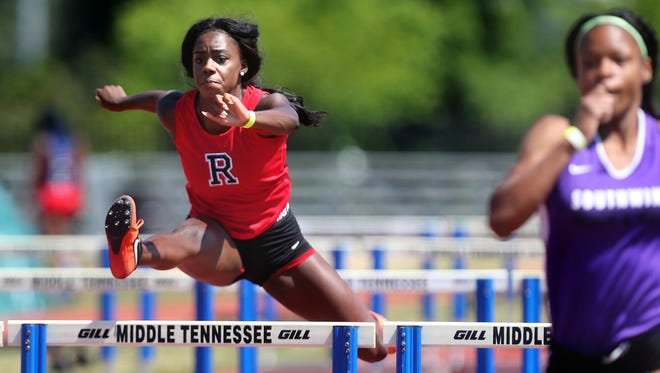 Rossview's Bethany Rich jumps during the 100-meter hurdle competition at the TSSAA State Track and Field Championships pentathlon Monday.