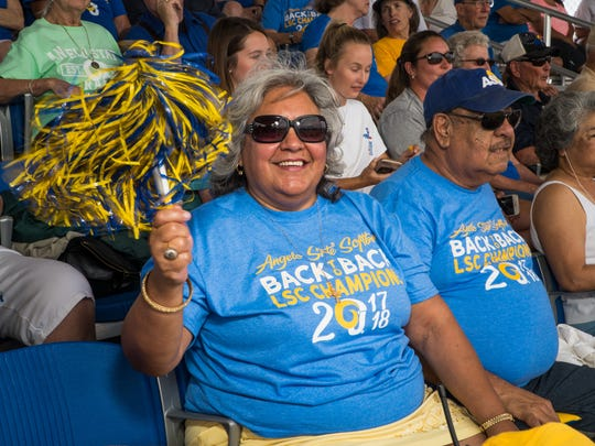 Angelo State University professor Maria de los Santos Onofre-Madrid can be seen cheering on ASU teams in pretty much any sport