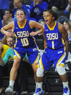 Kerri Young (10) and Lexi Alexander played key roles in leading SDSU to a 23-win season.