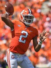 Clemson quarterback Kelly Bryant (2) passes against