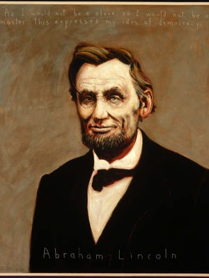 """Robert Shetterly's portrait of Abraham Lincoln is part of the """"Americans who Tell the Truth"""" project. A selection of those 180 paintings will come to Asheville's YMI on Sept. 19."""