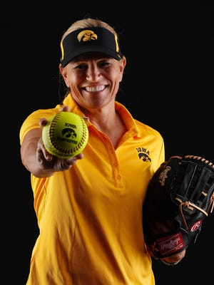 Renee Gillispie poses for a photo after being hired as Iowa's new softball coach.