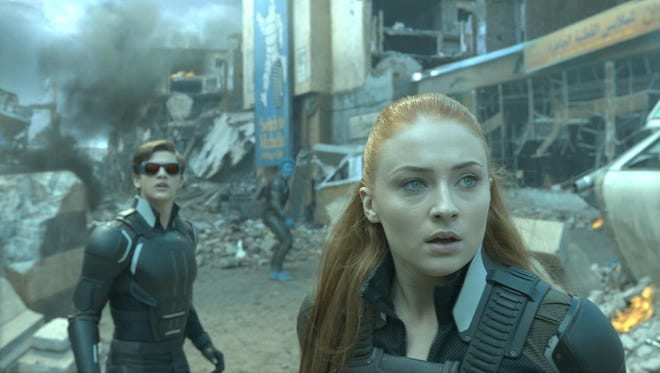 "Cyclops (Tye Sheridan) and Jean (Sophie Turner) are in the midst of an epic battle to save the planet in ""X-Men: Apocalyspe."""