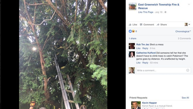 East Greenwich Township Fire & Rescue rescued a Pokemon Go player from a tree.
