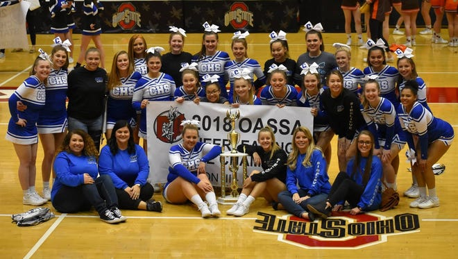 Chillicothe's cheerleading team recently won the Division III OASSA state build title at Ohio State University's St. John Arena.