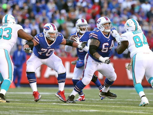 Eric Wood and Richie Incognito were once again mainstays on the offensive line, though Wood missed seven games.