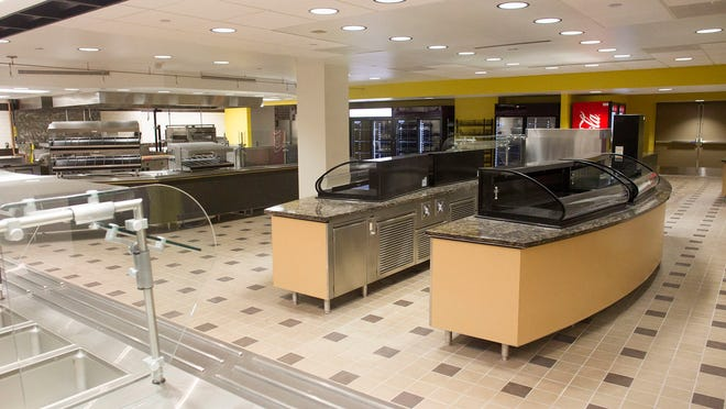 The Union Station Food Court is seen on the ground floor of the Iowa Memorial Union on Tuesday. The floor, which has been inaccessible to students since the flood of 2008, will reopen June 1.