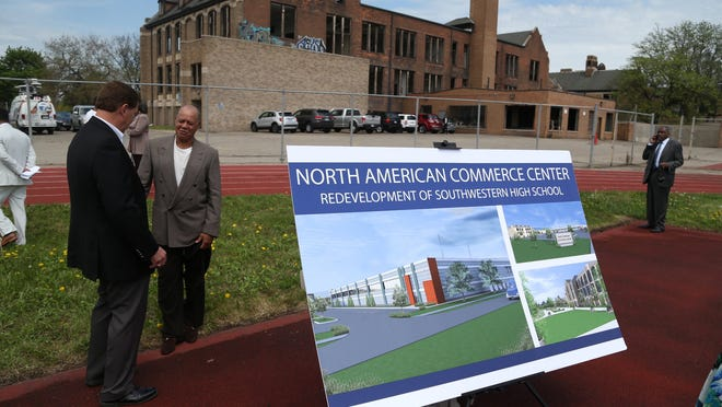 A rendering of the Sakthi manufacturing facility that will rise from the old Southwestern High School site is seen on Monday in Detroit.