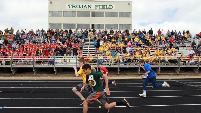 Students compete at Kids Track at West High on Monday, May 11, 2015. David Scrivner / Iowa City Press-Citizen