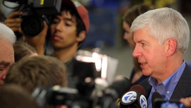 Gov. Rick Snyder speaks to the media after delivering a message at Goodwill Industries of Greater Detroit saying that in order to be a safer Michigan there must be a change in the state's criminal justice system.