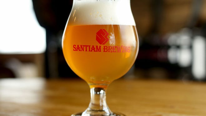 The new barrel-aged Gin Peche Lambic can be tasted at Santiam Brewing in Salem.