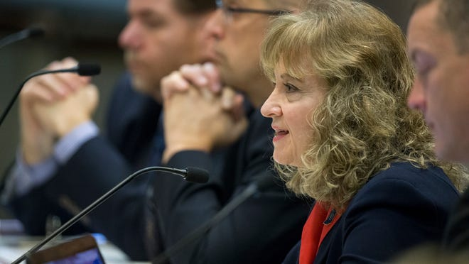 Glenda Ritz, superintendent of public instruction for Indiana, talks during a State Board of Education meeting about the ISTEP test, and length changes to it, on Feb. 13, 2015. Two new members were appointed on Wednesday by legislative leaders in the first changes made after the passage of Senate Bill 1.