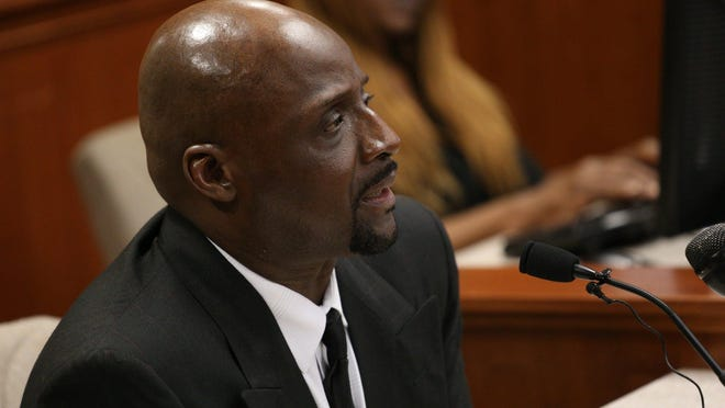 Floyd Dent testifies during the the preliminary case against ex-Inkster police officer William Melendez at the 22nd district court in Inkster, Mich. on Thursday, May 28, 2015. Dent was stopped by Melendez on Jan. 28th. Patrol car video of the stop showed former Inkster officer Melendez punching Dent 16 times and maintaining a choke hold on him. Melendez has been charged with misconduct in office and assault with intent to do great bodily harm less than murder, both felonies.