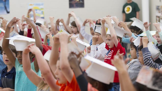Horn Elementary kindergartners perform for teachers and parents during their graduation ceremony on Tuesday, June 2, 2015.