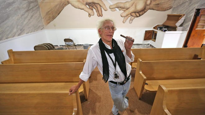Bill Levin in the sanctuary at The First Church of Cannabis.