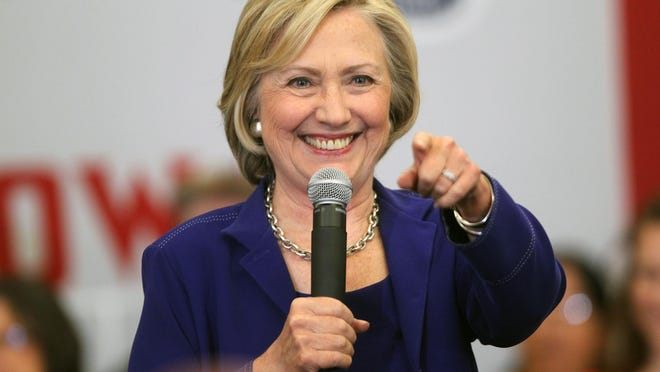 Democratic presidential candidate Hillary Clinton thanks supporters at the Iowa City Public Library on Tuesday, July 7, 2015.